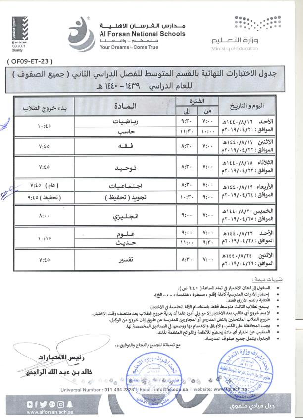 جدول اختبارات نهاية الفصل الدراسي الثاني – القسم المتوسط (بنين)